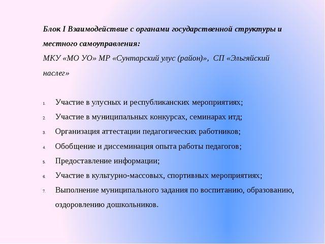Блок I Взаимодействие с органами государственной структуры и местного самоупр...