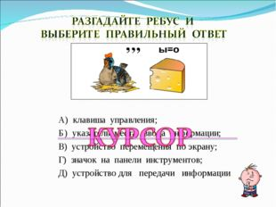 А) клавиша управления; Б) указатель места ввода информации; В) устройство пер