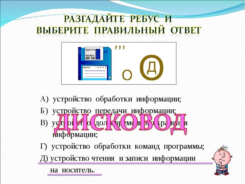 А) устройство обработки информации; Б) устройство передачи информации; В) уст...