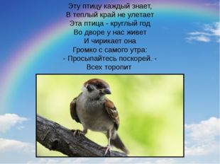 Эту птицу каждый знает, В теплый край не улетает Эта птица - круглый год Во д