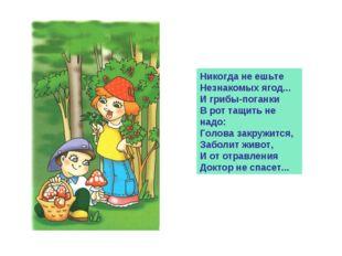 Никогда не ешьте Незнакомых ягод... И грибы-поганки В рот тащить не надо: Гол