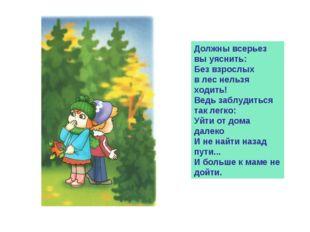 Должны всерьез вы уяснить: Без взрослых в лес нельзя ходить! Ведь заблудиться