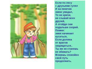 Если по лесу с друзьями гулял И на пенечке змею увидал, То не кричи, не сзыва