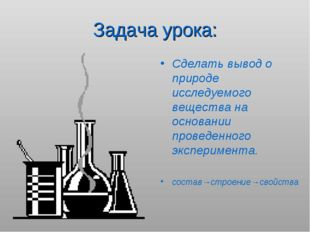 Задача урока: Сделать вывод о природе исследуемого вещества на основании пров