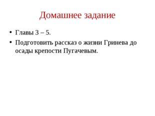 Домашнее задание Главы 3 – 5. Подготовить рассказ о жизни Гринева до осады кр