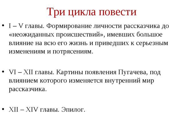 Три цикла повести I – V главы. Формирование личности рассказчика до «неожидан...