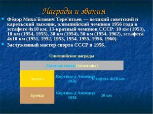 Награды и звания Фёдор Миха́йлович Тере́нтьев — великий советский и карельск