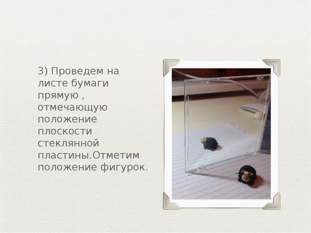 3) Проведем на листе бумаги прямую , отмечающую положение плоскости стеклянно...