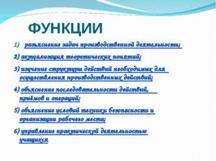 ФУНКЦИИ разъяснение задач производственной деятельности; 2) актуализация теор