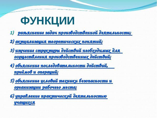 ФУНКЦИИ разъяснение задач производственной деятельности; 2) актуализация теор...