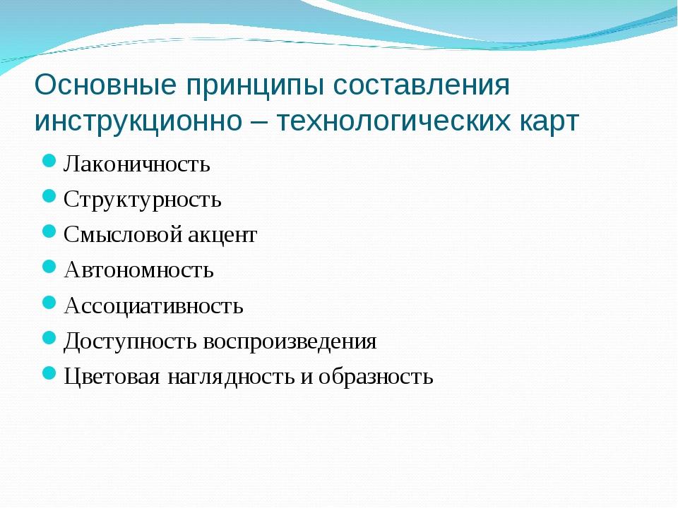 Основные принципы составления инструкционно – технологических карт Лаконичнос...