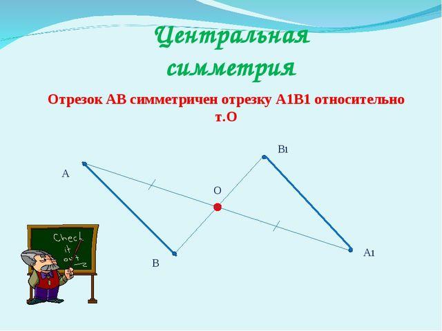Центральная симметрия Отрезок АВ симметричен отрезку А1В1 относительно т.О А...