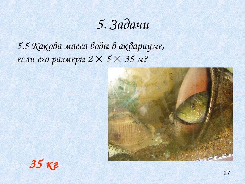 5. Задачи 35 кг 5.5 Какова масса воды в аквариуме, если его размеры 2  5  3...