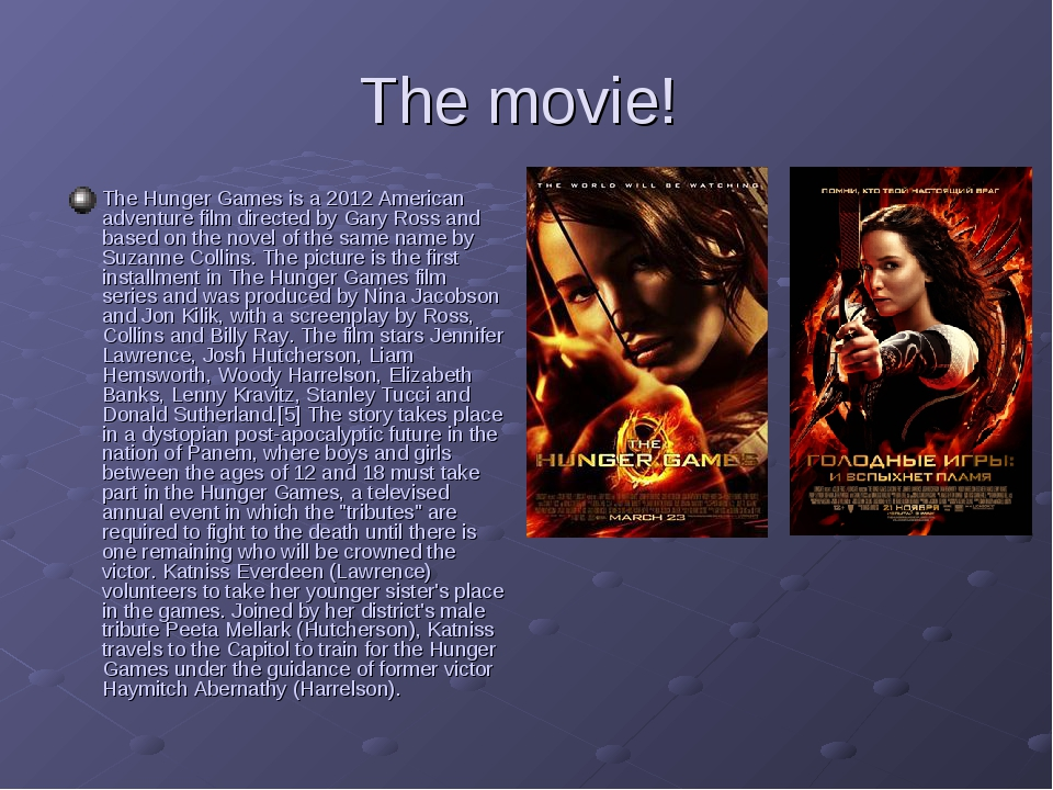 The movie! The Hunger Games is a 2012 American adventure film directed by Gar...