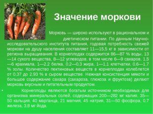 Значение моркови Морковь — широко используют в рациональном и диетическом пит