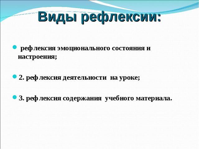 Виды рефлексии: рефлексия эмоционального состояния и настроения; 2. рефлексия...