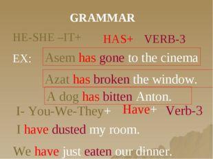 GRAMMAR HE-SHE –IT+ HAS+ VERB-3 EX: Asem has gone to the cinema Azat has brok