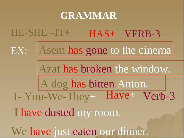 GRAMMAR HE-SHE –IT+ HAS+ VERB-3 EX: Asem has gone to the cinema Azat has brok...