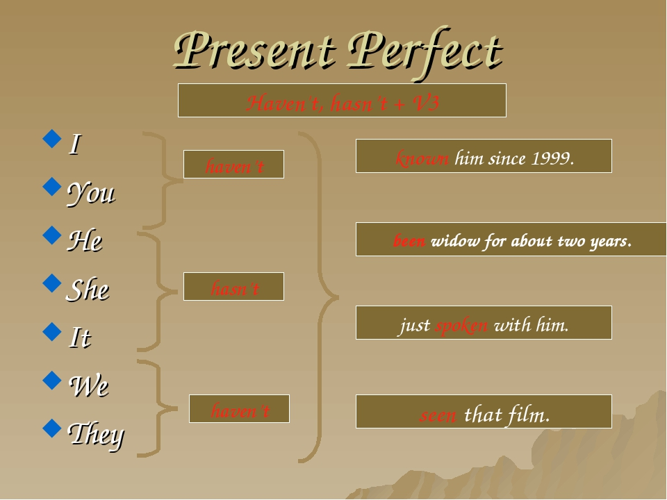 Present Perfect I You He She It We They Haven't, hasn't + V3 haven't hasn't h...