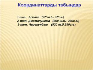 1-топ. Астана (720 ш.б.- 520с.е.) 2-топ. Джомалунгма (860 ш.б.- 280с.е.) 3