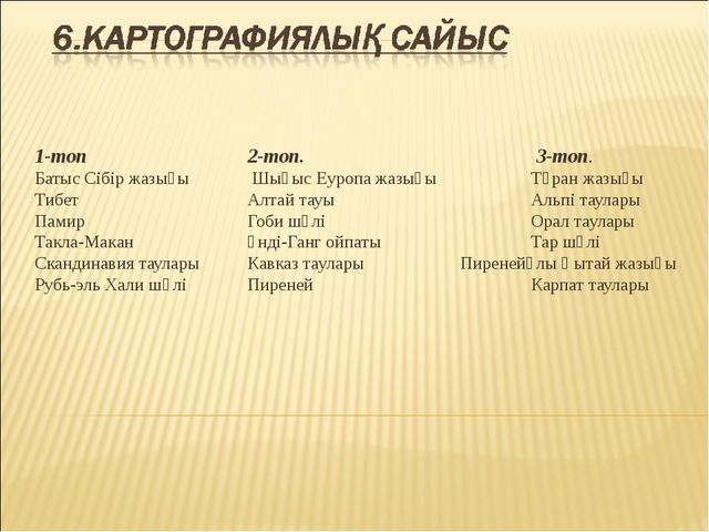 1-топ2-топ. 3-топ. Батыс Сібір жазығы  Шығыс Еуропа жазығыТұран жаз...