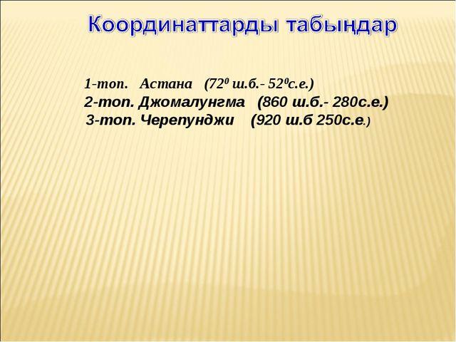 1-топ. Астана (720 ш.б.- 520с.е.) 2-топ. Джомалунгма (860 ш.б.- 280с.е.) 3...