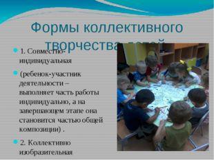 Формы коллективного творчества детей 1. Совместно-индивидуальная (ребенок-уча