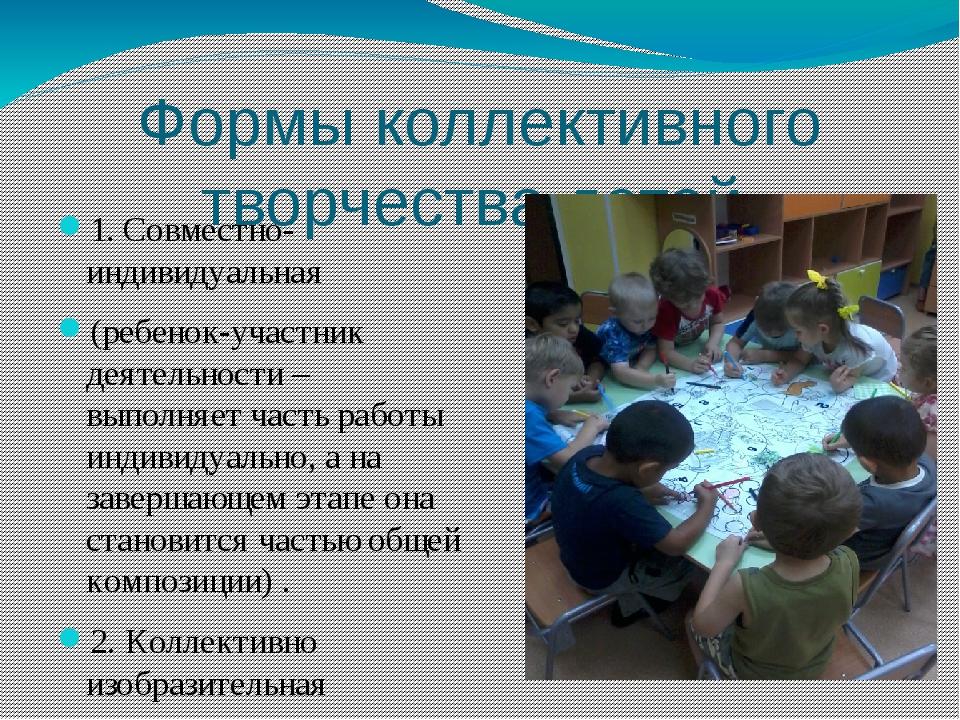 Формы коллективного творчества детей 1. Совместно-индивидуальная (ребенок-уча...