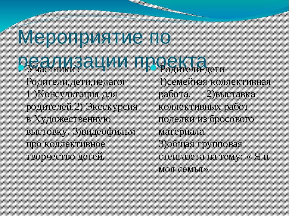 Мероприятие по реализации проекта Участники : Родители,дети,педагог 1 )Консул...