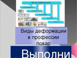 Виды деформации в профессии повар Выполнил: студент ГБПОУ НИК гр. П 16 Арсен