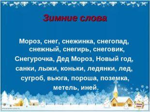 Зимние слова Мороз, снег, снежинка, снегопад, снежный, снегирь, снеговик, Сне