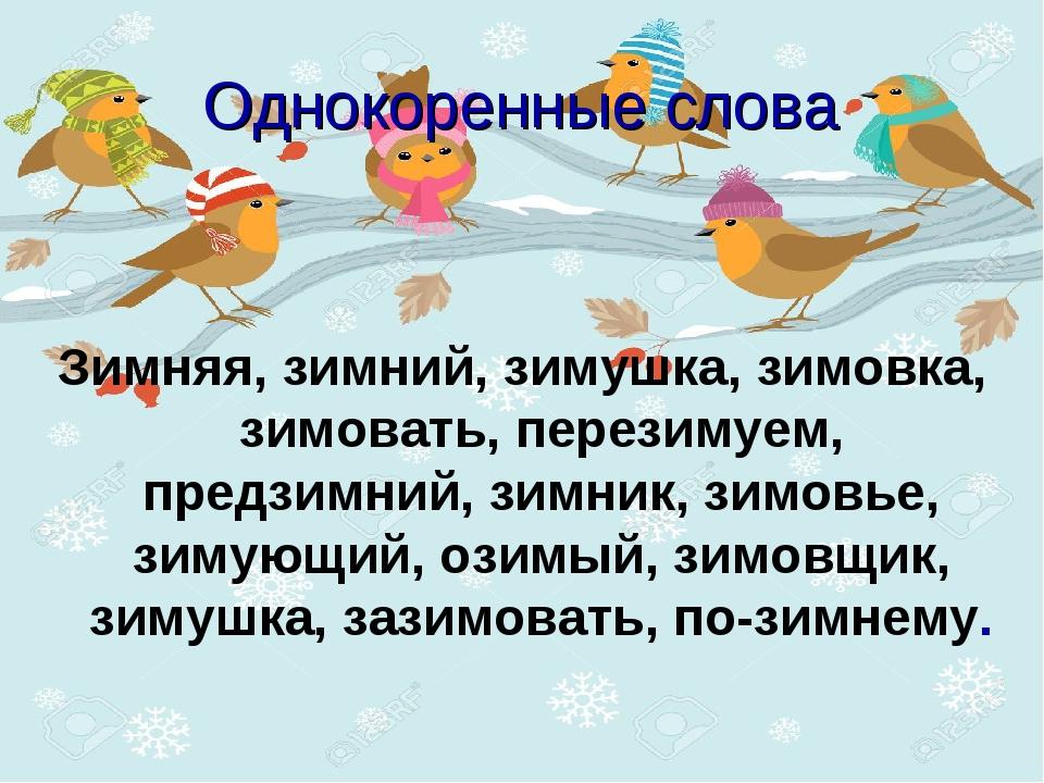 Однокоренные слова Зимняя, зимний, зимушка, зимовка, зимовать, перезимуем, пр...