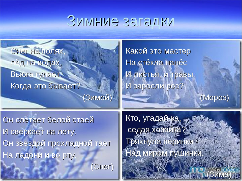 Зимние загадки Снег на полях, лёд на водах, Вьюга гуляет. Когда это бывает? ...