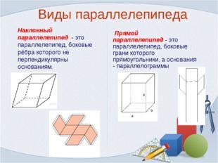 Виды параллелепипеда Наклонный параллелепипед - это параллелепипед, боковые р