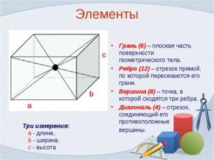 Элементы Грань (6) – плоская часть поверхности геометрического тела. Ребро (1