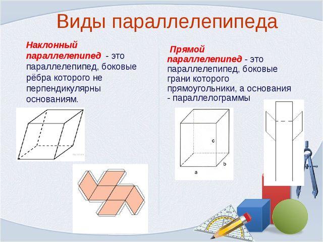 Виды параллелепипеда Наклонный параллелепипед - это параллелепипед, боковые р...