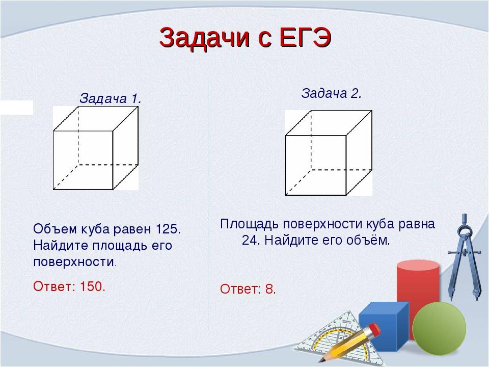 Задача 1. Объем куба равен 125. Найдите площадь его поверхности. Ответ: 150....