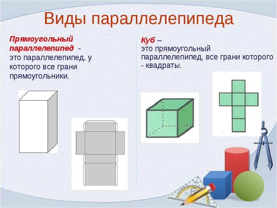 Виды параллелепипеда Прямоугольный параллелепипед - это параллелепипед, у кот...
