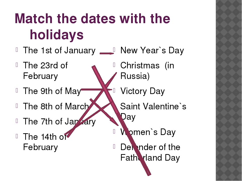 Match the dates with the holidays The 1st of January The 23rd of February The...
