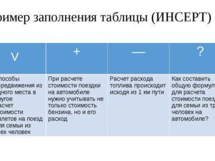 Пример заполнения таблицы (ИНСЕРТ) V + ― ? Способы передвижения из одного мес