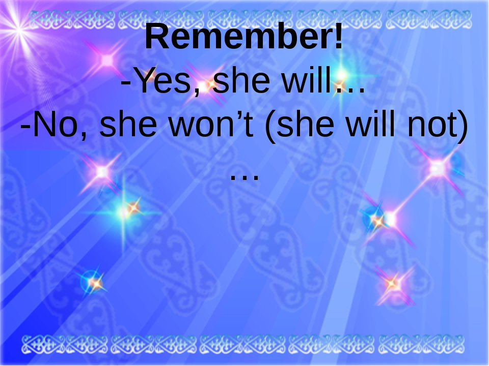 Remember! -Yes, she will… -No, she won't (she will not)…