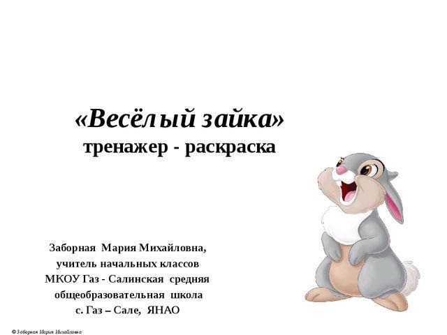 Заборная Мария Михайловна, учитель начальных классов МКОУ Газ - Салинская сре...