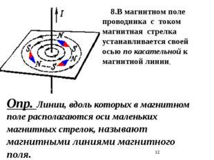 Опр. Линии, вдоль которых в магнитном поле располагаются оси маленьких магни