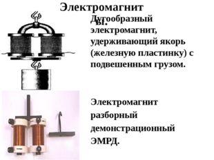 Дугообразный электромагнит, удерживающий якорь (железную пластинку) с подвеш