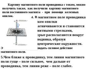 Картину магнитного поля проводника с током, можно получить также, как получи
