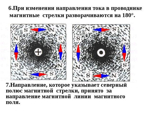 6.При изменении направления тока в проводнике магнитные стрелки разворачиваю...