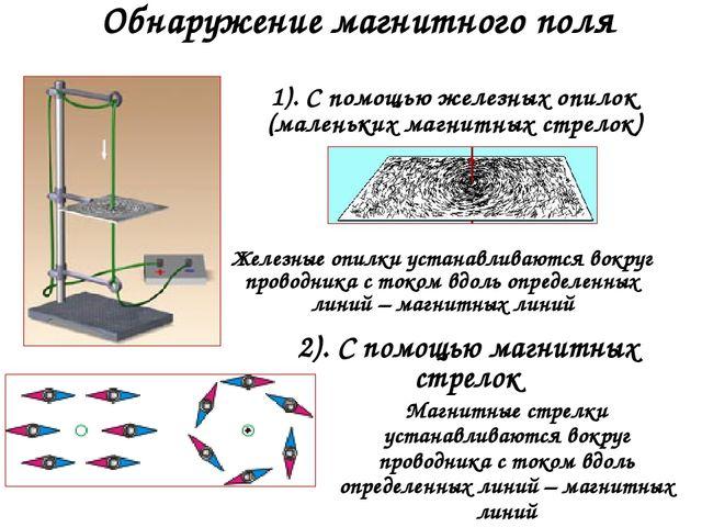 Обнаружение магнитного поля 2). С помощью магнитных стрелок 1). С помощью жел...