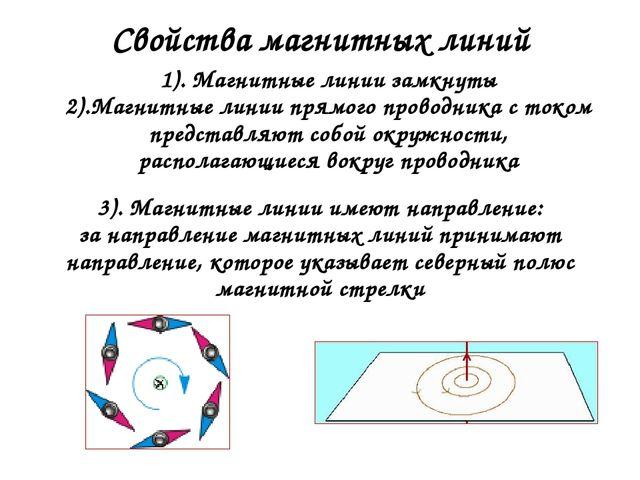 Свойства магнитных линий 1). Магнитные линии замкнуты 2).Магнитные линии прям...
