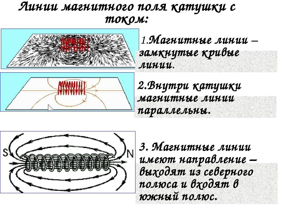 Линии магнитного поля катушки с током: 1.Магнитные линии – замкнутые кривые л...