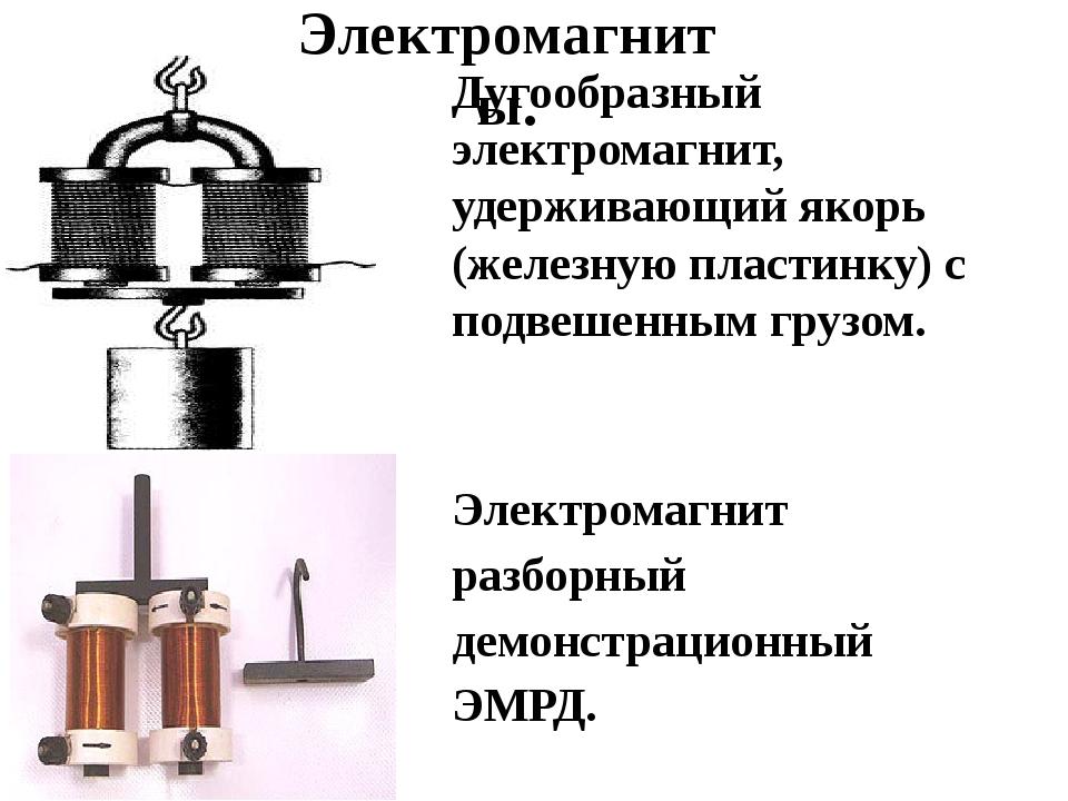 Дугообразный электромагнит, удерживающий якорь (железную пластинку) с подвеш...